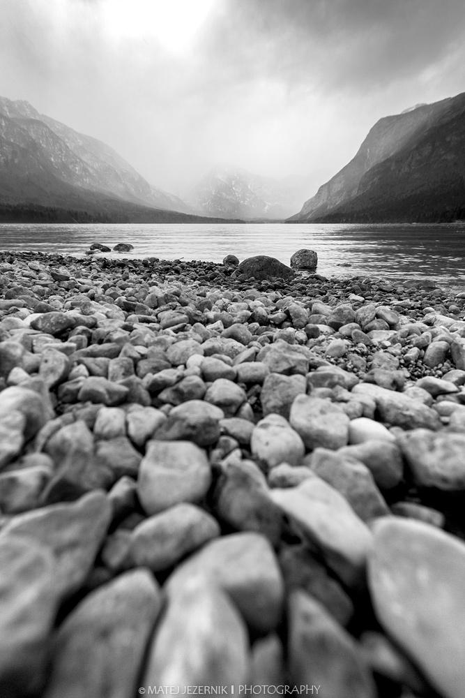 Pebbles on the shore of Lake Bohinj