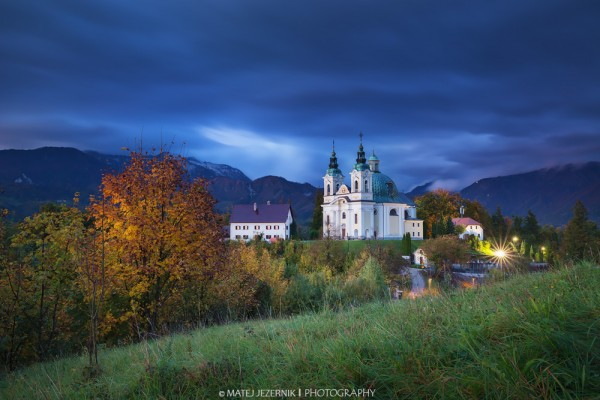 Evening view from Vinski Vrh towards church of Sv. Ana in Tunjice. Vibrant autumn colors bring nice warm touch to the view.