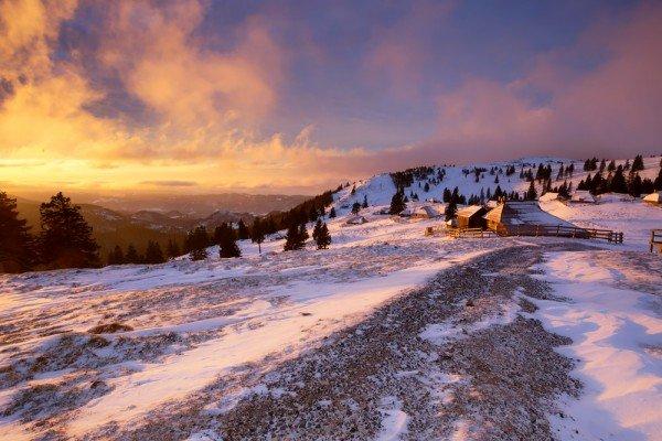 Beautiful morning display of colours in Velika planina area.